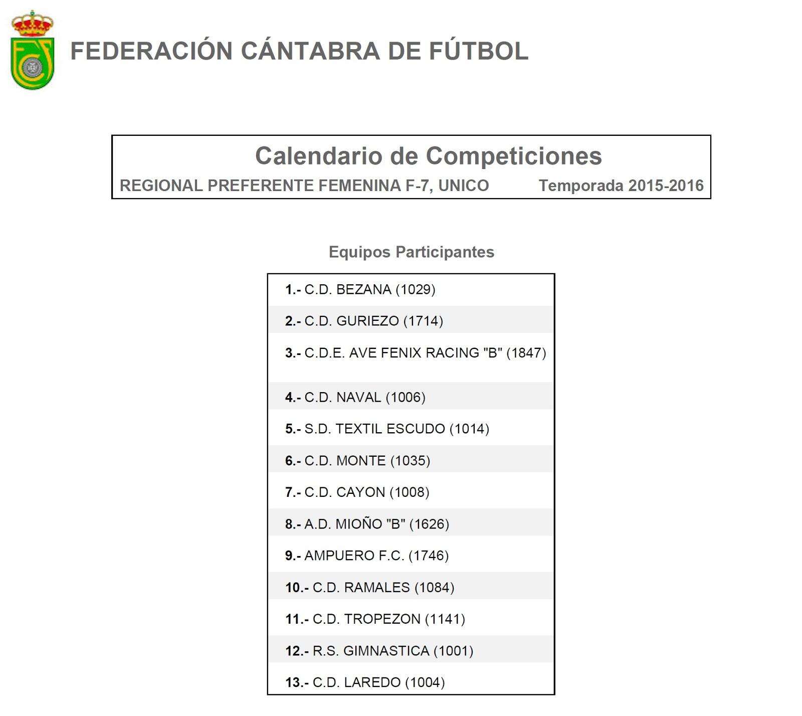 Calendario Liga Femenina.Ampuero F C Liga Femenina Competicion Calendario