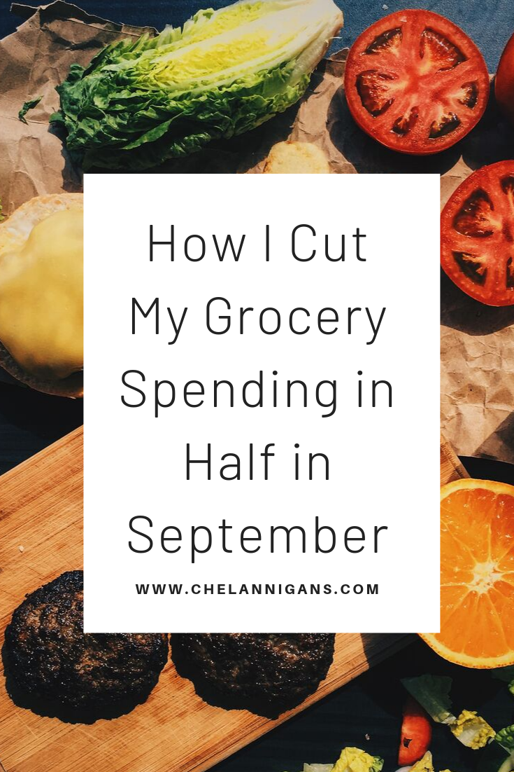 Food prep with text overlay saying how I cut my grocery spending in September