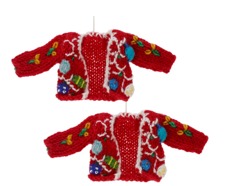 e49a14bcc73 I ordered two sets of these ugly Christmas sweater ornaments from the  Animal Rescue Site in hopes that they will fit petite Barbie or other  similar-size ...