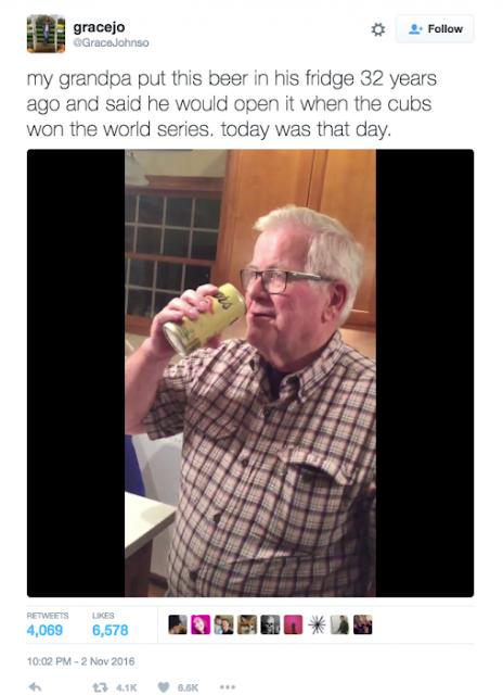 Abuelo abre su cerveza luego de 32 años por los Cubs