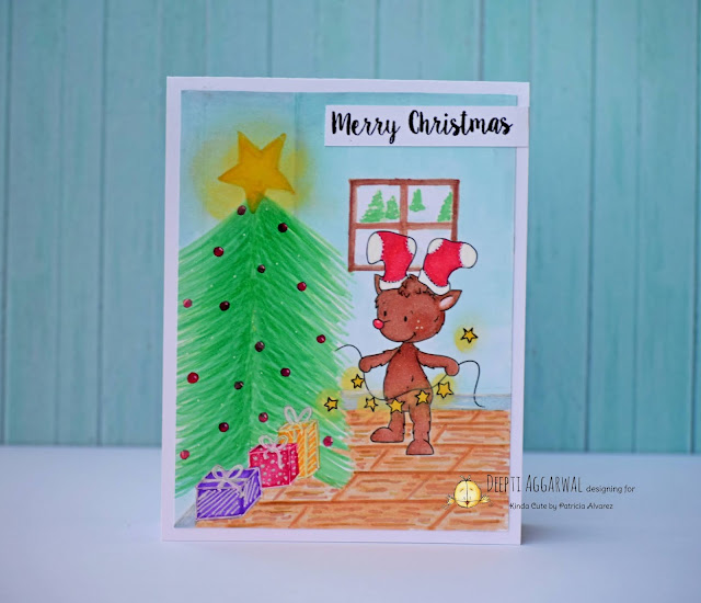 Christmas card colored with Alcohol markers