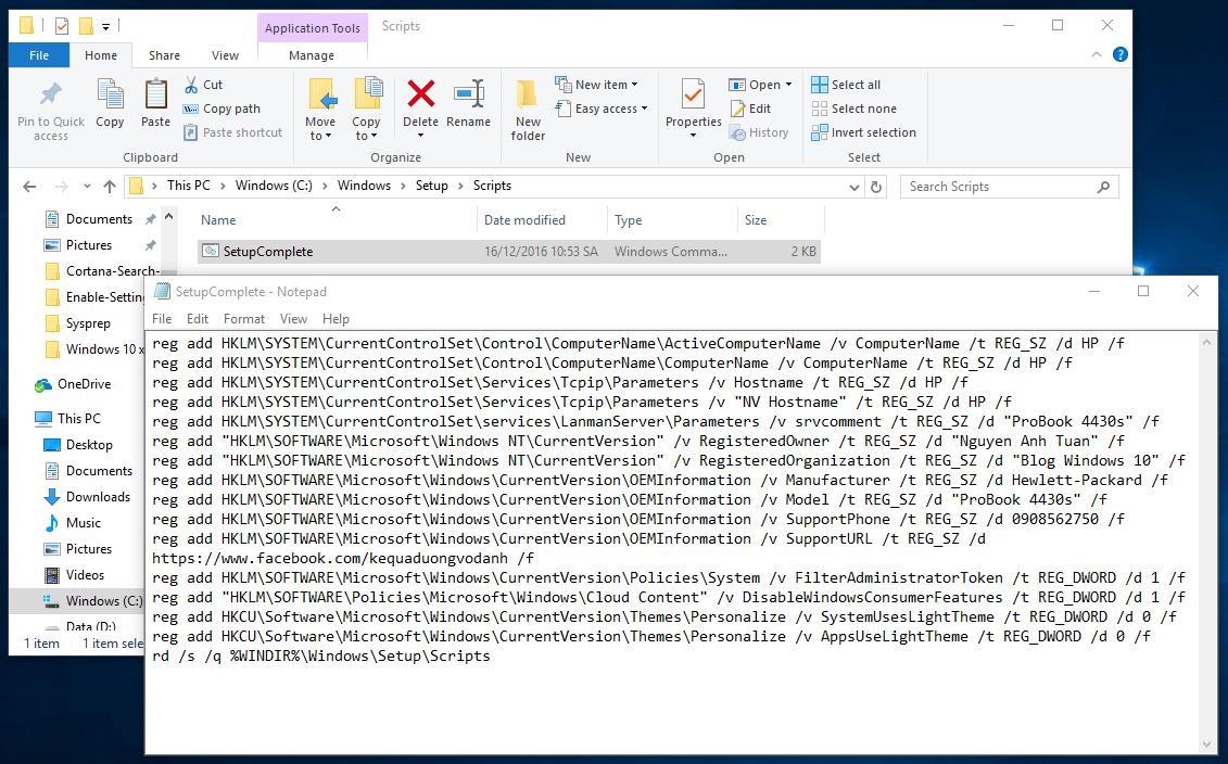 Thêm tập tin SetupComplete.cmd với những đoạn scripts tùy chỉnh trong quá trình cài đặt Windows 10