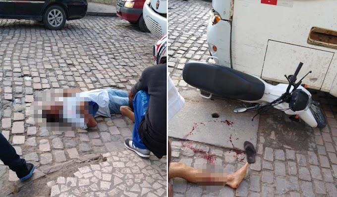 Jacobina: Colisão entre moto e ônibus deixa dois feridos no bairro da Missão