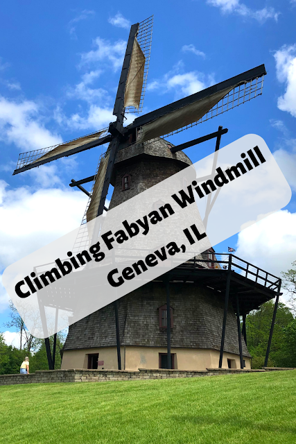 Climbing a Traditional Dutch Style Windmill in Illinois at Fabyan Forest Preserve in Geneva, Illinois