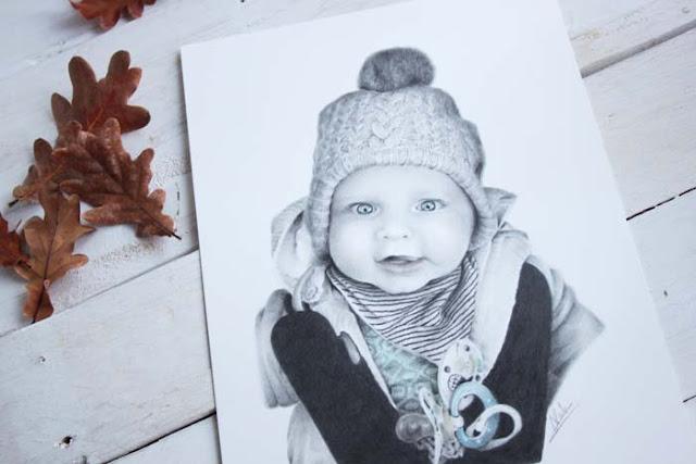 Retrato infantil en blanco y negro