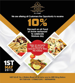 A'Mire Restaurant To Take %10 Off Every Purchase Made On 1st May