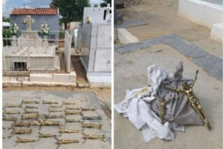 Homens são flagrados quando roubavam crucifixos de cemitério no interior da PB