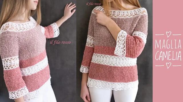 """Tutorial Blusa """"Camelia"""" a Crochet"""