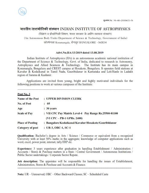 Recruitment of UDC posts in IIAP, India