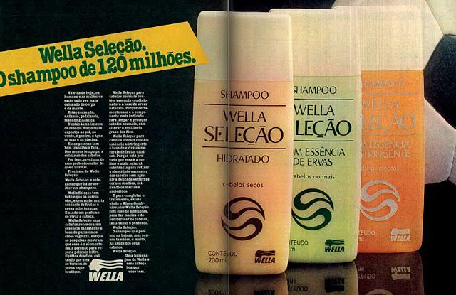 Propaganda antiga da Wella promovendo seu shampoo promocional para a Copa do Mundo de 1982