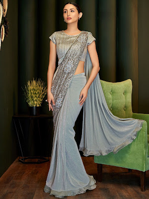 Indian Party Wear Grey Lycra Pre Stitched Fancy Saree with Sequins Work
