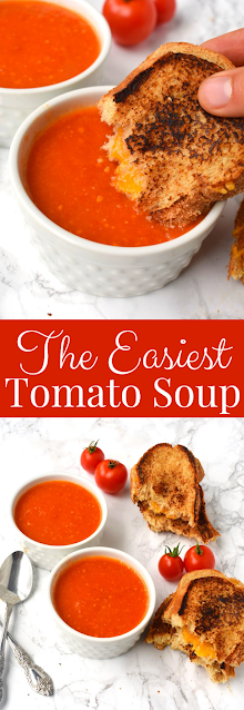 The Easiest Tomato Soup is ready in about 15 minutes and has just 4 ingredients- tomatoes, onions, garlic and butter! Pair it with a grilled cheese sandwich for a cozy, comforting meal. #soup #tomatosoup #comfortfood #tomato #tomatoes #healthy #cleaneating