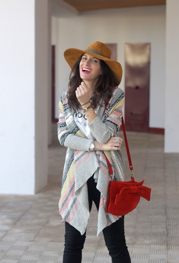Ethnic Cardigan, Jeans and Hat