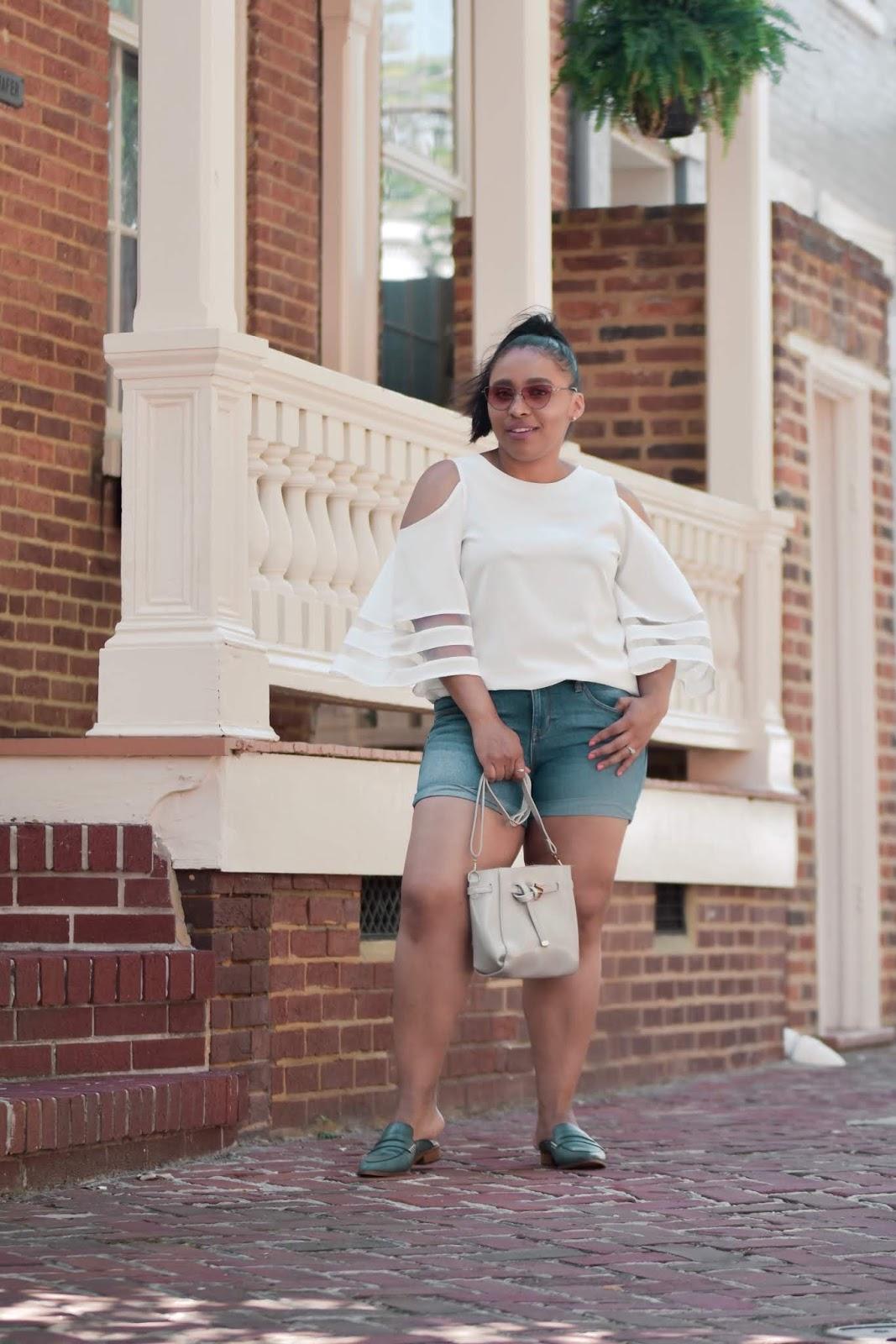 Lookbook store, summer outfit ideas, shoulder cutoffs, cold shoulder, cut offs, shorts