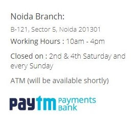 Paytm Payments Bank Branch Location