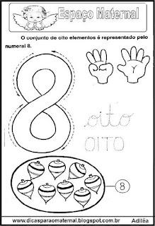 Desenho numeral 8 para colorir