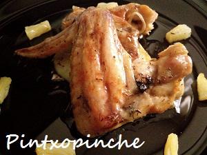 pollo, asado, mantequilla, patatas, fruta, sin gluten, carne