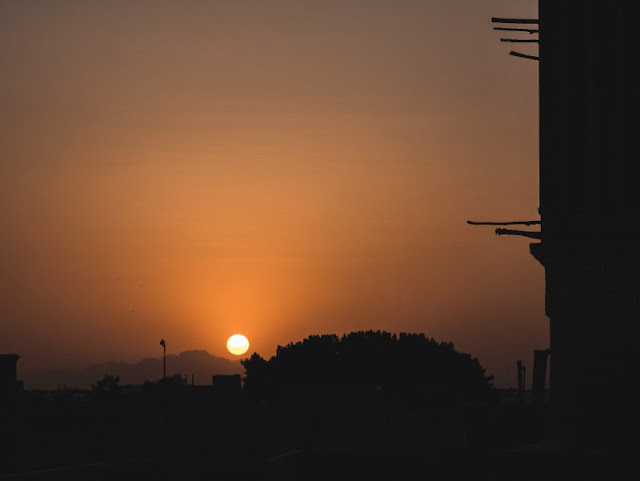 Sunset from the roof of the tourist library in Yazd