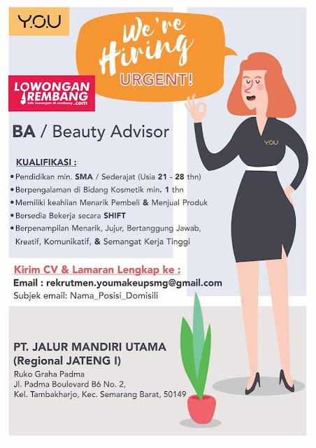 Lowongan Kerja Beauty Advisor Y.O.U Semarang Rembang
