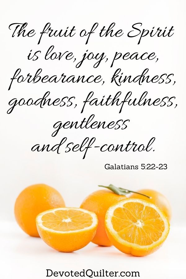 The fruit of the Spirit is love, joy, peace, patience, kindness, goodness and self-control | DevotedQuilter.com