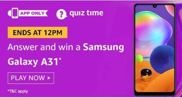 Amazon Quiz 23 August Answers Win Samsung Galaxy A31