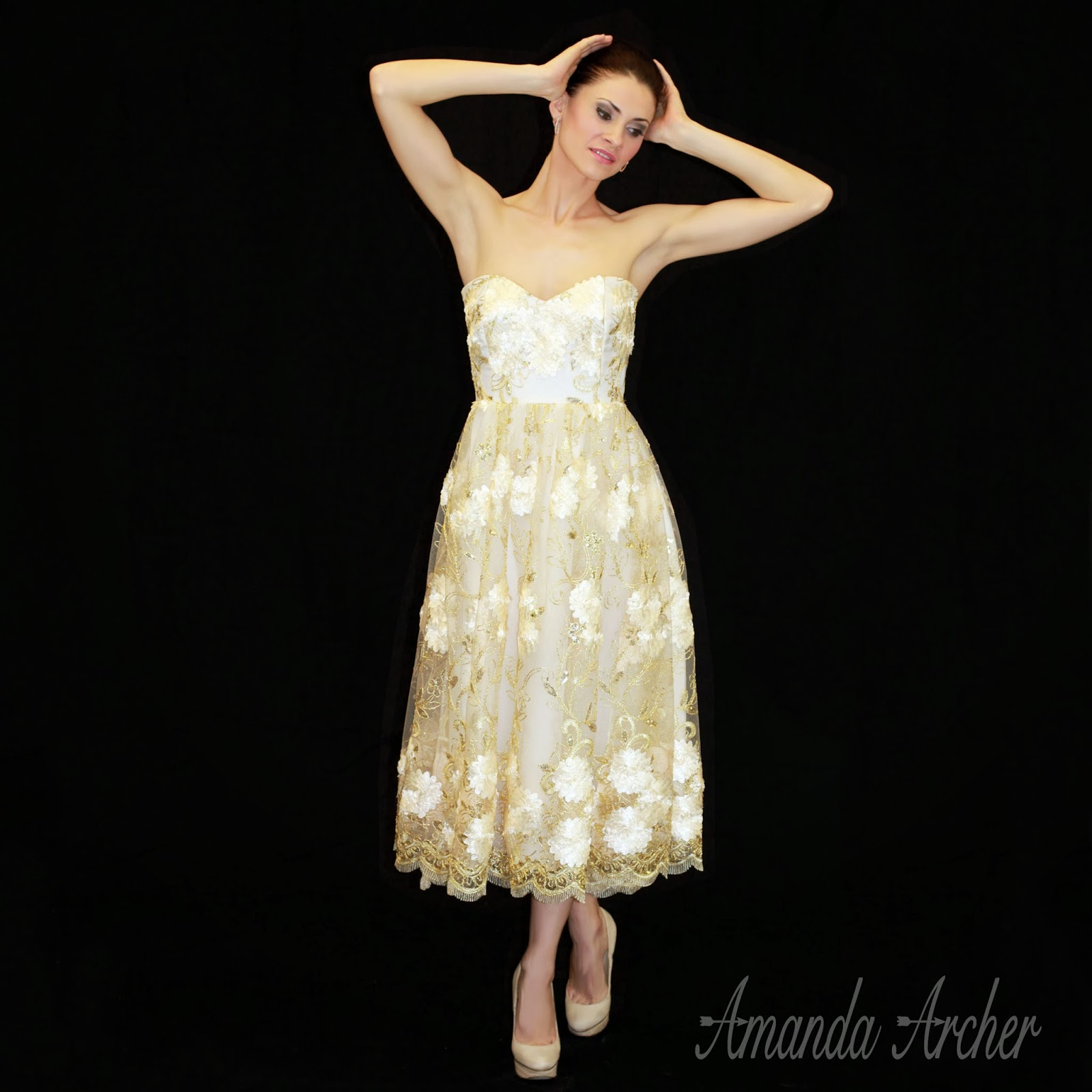 61e8eebcb60c 'Golden Afternoon' tea length strapless dress in silk and ivory and gold  embroidered sequin