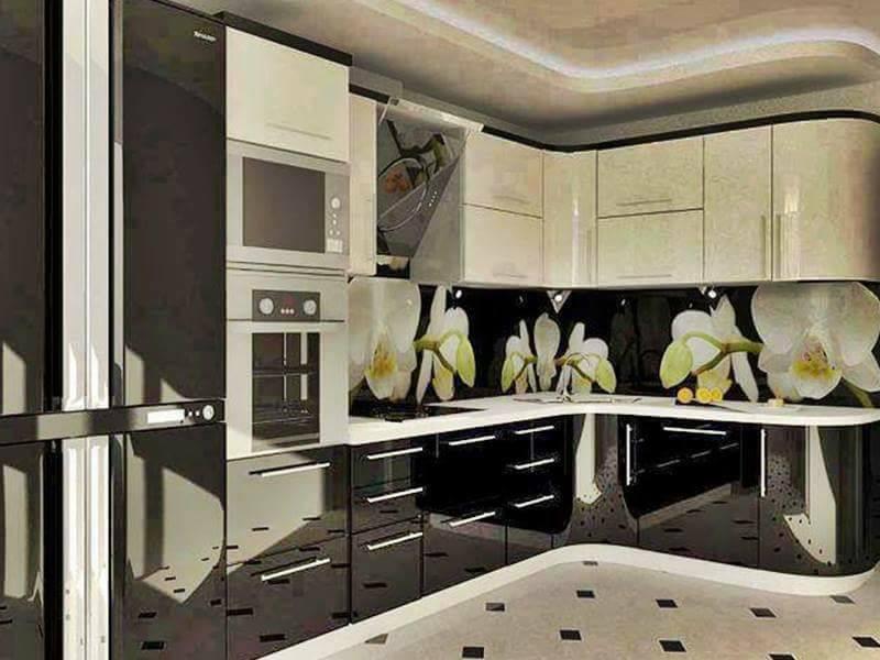 Desain Dapur Perpaduan Motif Bunga