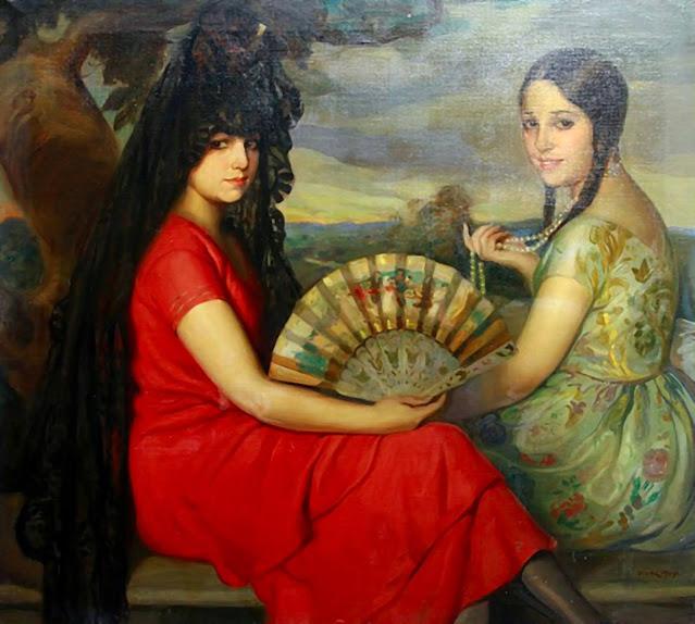 Las dos amigas, Victor Moya Calvo, Pintor español, Pintores Valencianos, Retratos de Victor Moya Calvo, Pintores españoles, Pintor Victor Moya, Pintores Valencianos