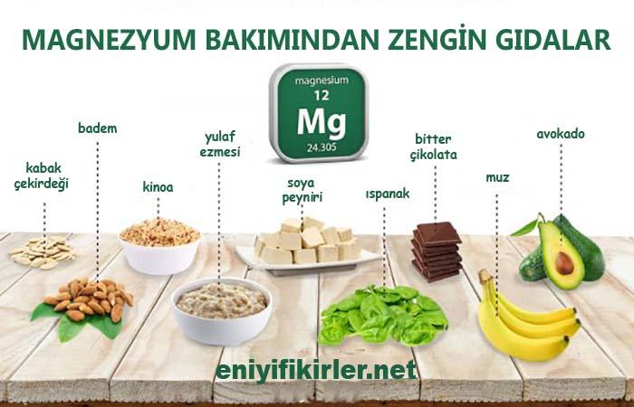 magnezyum içeren en zengin besinler