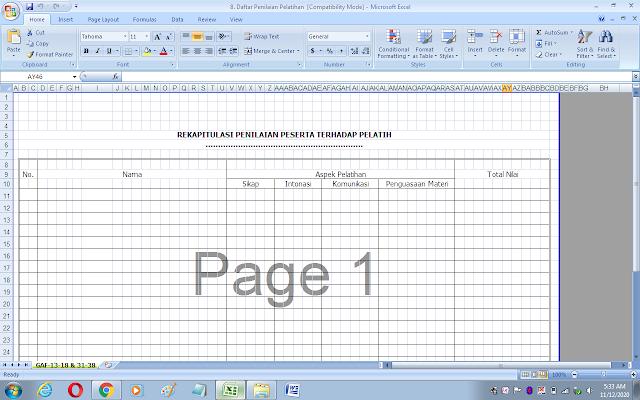 Format rekapitulasi penilaian peserta terhadap pelatih/narasumber
