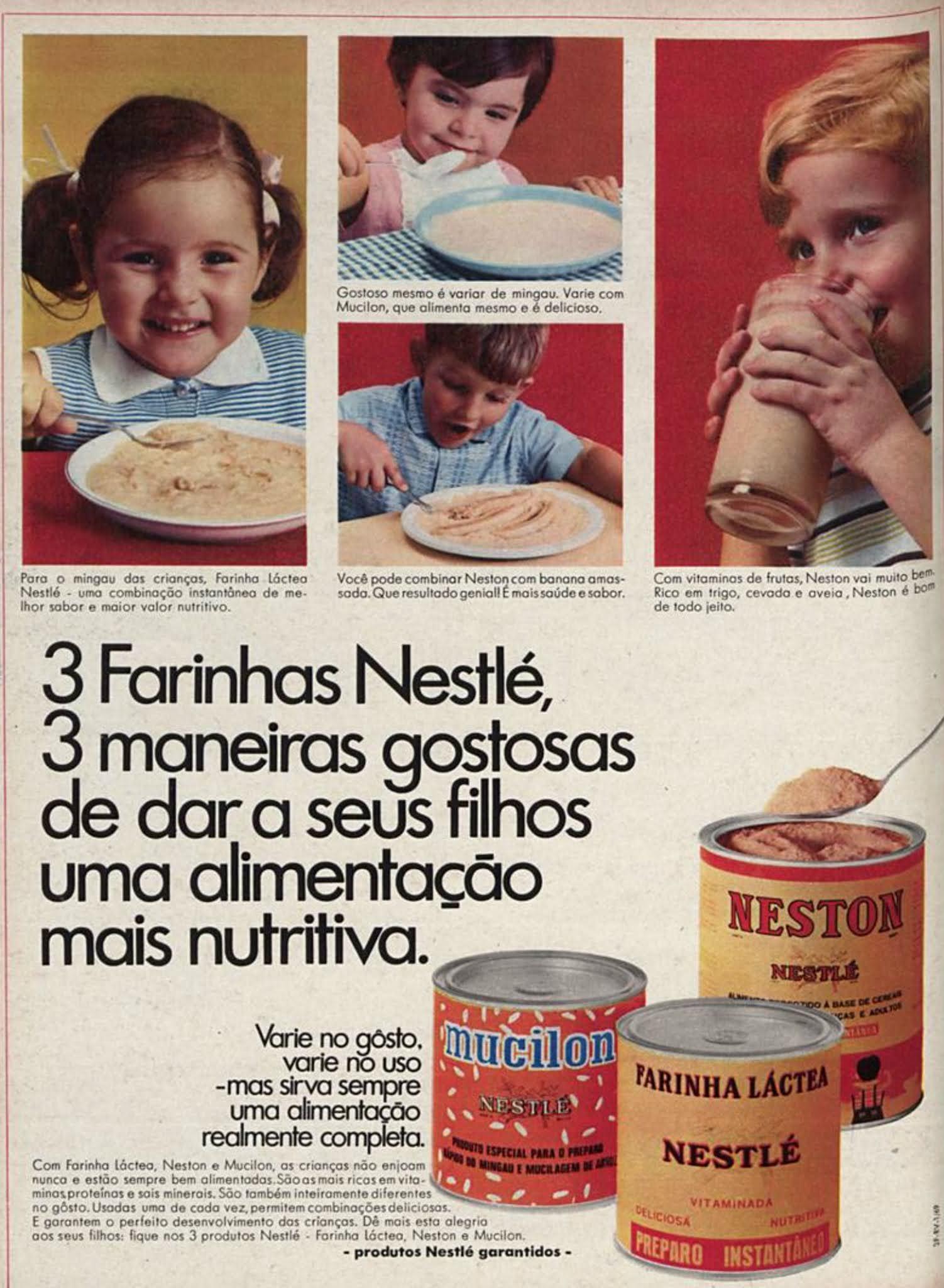Anúncio de 1969 onde a Nestlé promovia sua linha de farinhas de cereais