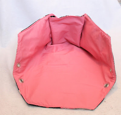 Fold-Out storage bin made from fabric