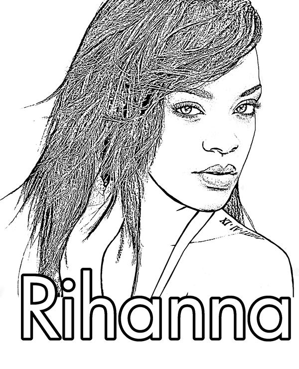 Clique para ver versão para impressão de Bela Rihanna para colorir