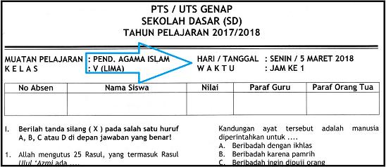 Soal UTS 2 Agama Islam (PAI) Kelas 5 SD/MI Terbaru dan Kunci Jawaban