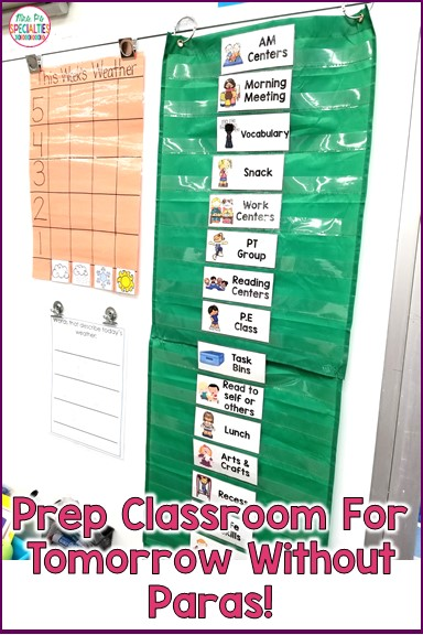 Do you ever look around and wonder how your classroom is going to be ready for the next day without having to stay for hours after school? Here are a couple ways that I get my classroom ready for the next day.