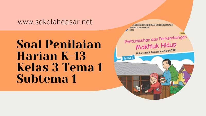 Soal Penilaian Harian K-13 Kelas 3 Tema 1 Subtema 1