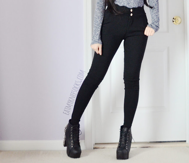 A rocker-chic outfit featuring scalloped high-waisted buttoned black skinny trousers/pants from SheIn, paired with spiked heeled Jeffrey Campbell booties and a split dip-hem marled turtleneck top.