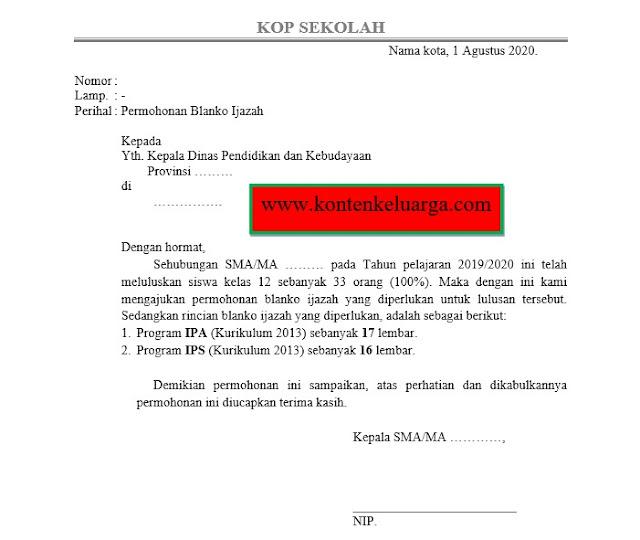 Format Surat Permohonan Blanko Ijazah