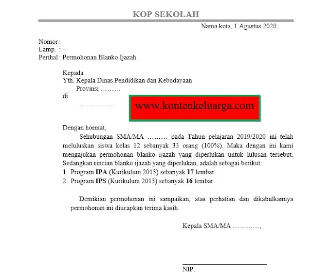 Format Surat Permohonan Blanko Ijazah (SD, SMP, SMA Sederajat)