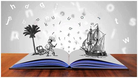 Piirros, jossa avoimen kirjan yläpuolella kuviteltu merirosvojen palmusaaari ja horisontissa vanhan ajan purjelaiva.