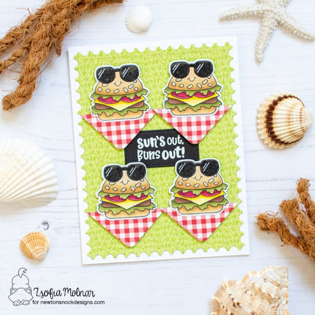Summer Hamburger card by Zsofia Molnar | Buns Out Stamp Set and Framework Die Set by Newton's Nook Designs #newtonsnook