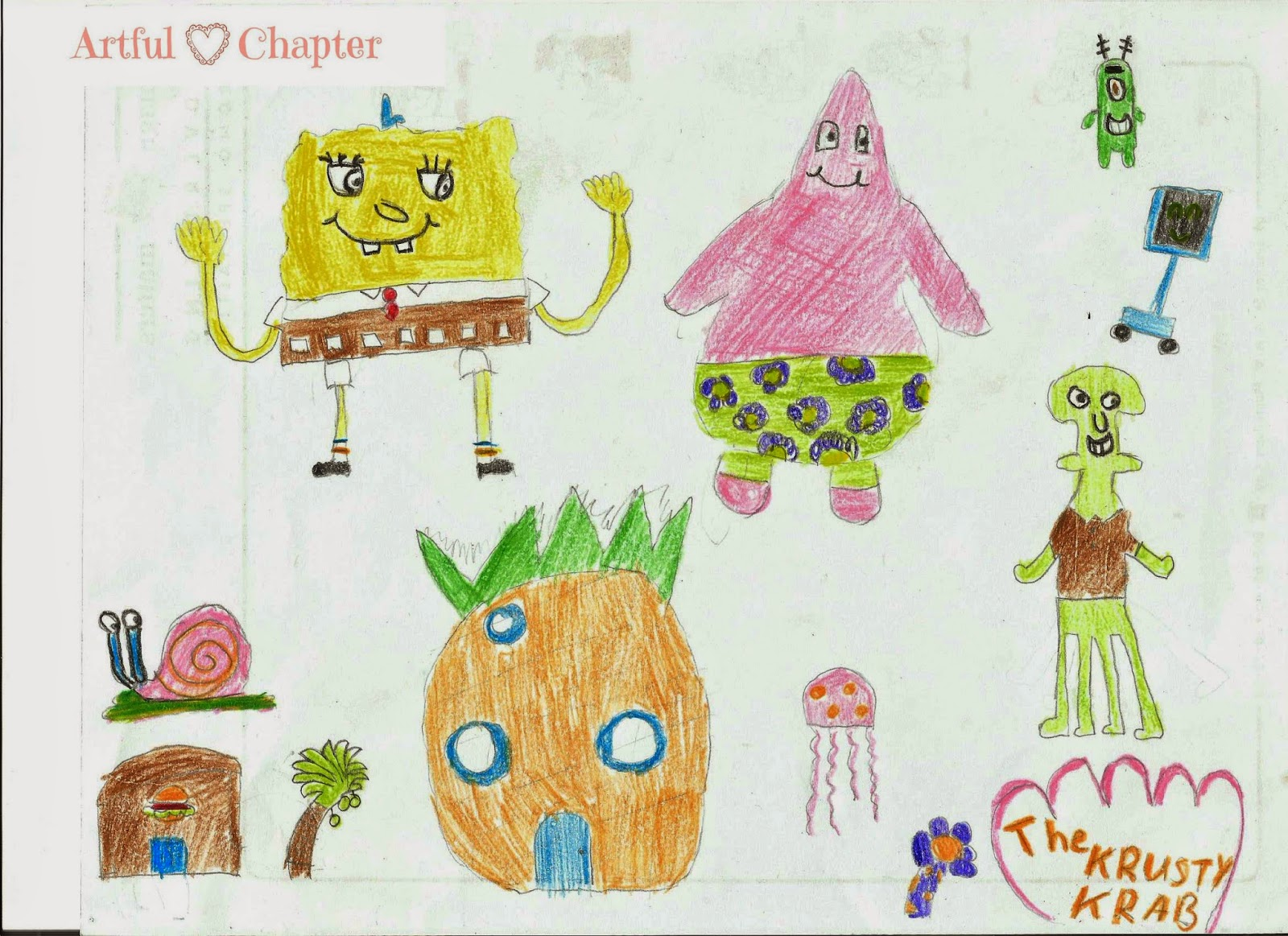 Freehand Drawing Of Spongebob Cartoon Characters Artful Chapter