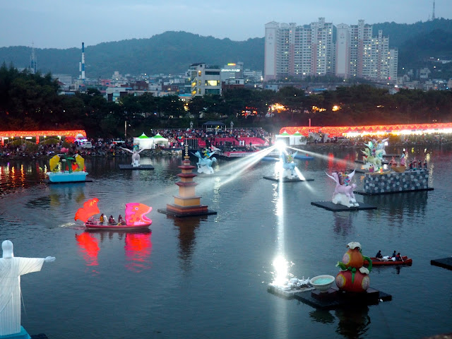 Lanterns and boat on the water at Jinju Lantern Festival, South Korea