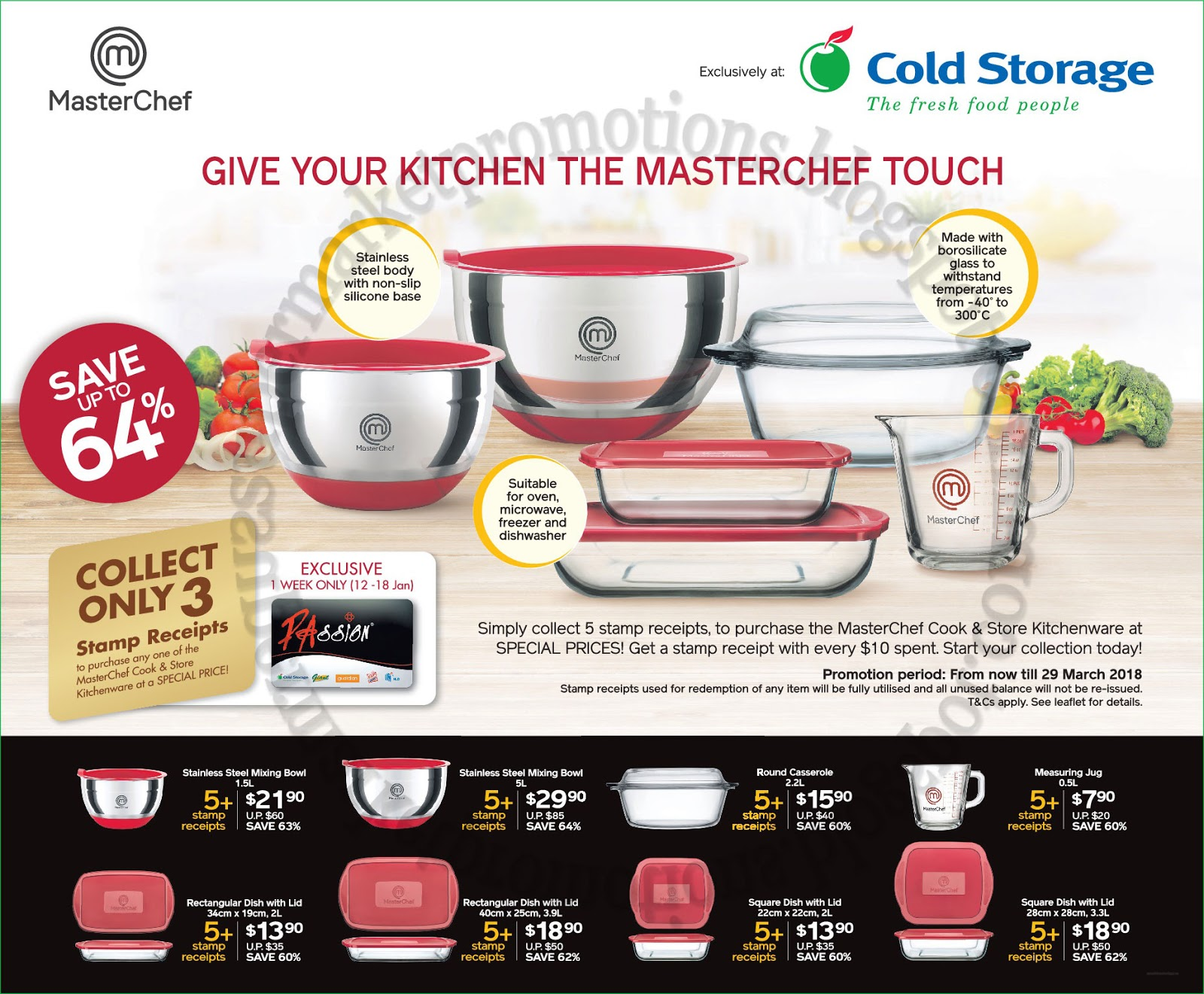 Collect only 3 St& receipts to purchase any one of the MasterChef Cook u0026 Store Kitchenware at a Special Price!  sc 1 st  Supermarket Promotions & Cold Storage Master Chef Cook u0026 Store Kitchenware Promotion 12 ...