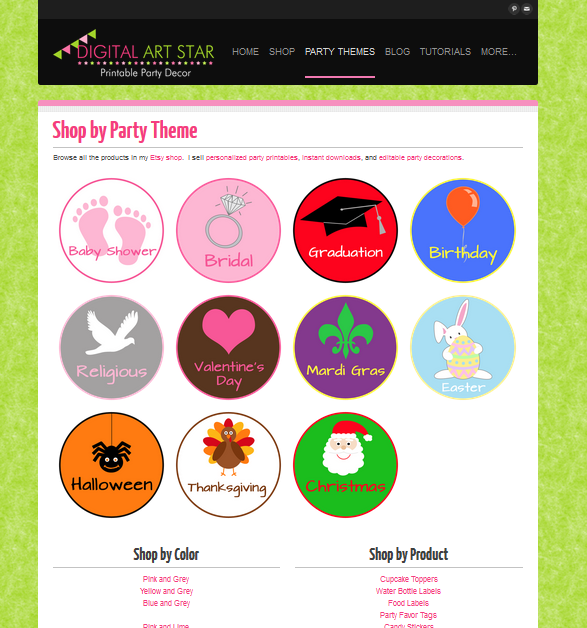 Digital Art Star - Shop by Category for Printable Party Decorations