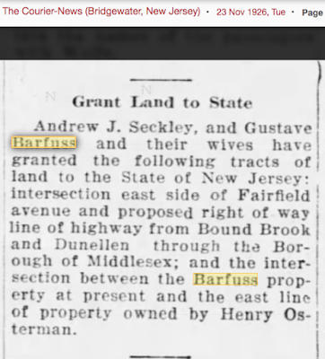 land around Fairfield Avenue and Bound Brook Road granted to state by Barfuss and Osterman families
