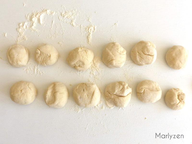 Puis chaque pâton en 6.