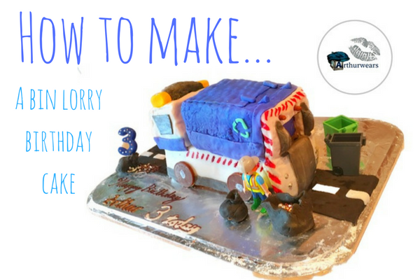 how to make a blue bin lorry recycling garbage truck birthday cake