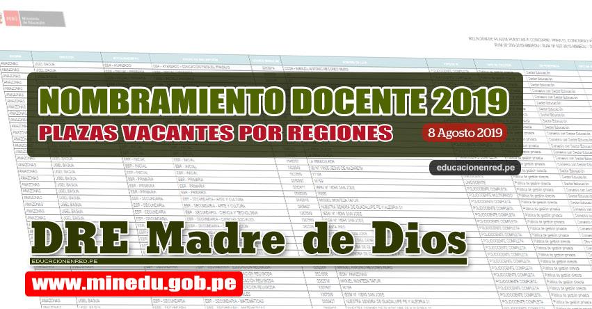 DRE Madre de Dios: Relación Final de Plazas Vacantes para Nombramiento Docente 2019 (.PDF ACTUALIZADO 8 AGOSTO) www.dredmdd.gob.pe