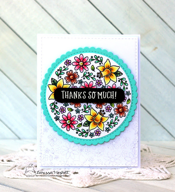 Thanks So Much Card by Larissa Heskett for Newton's Nook Designs using Floral Roundabout Stamp Set, Circle Frames Dies and Banner Trio Die #newtonsnook #newtonsnookdesigns #floralroundaboutstamp #circleframesdie #bannertriodie #copicmarkers #tecaardstock #wowembossing